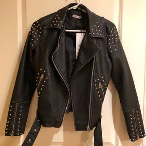 Black faux leather studded jacket